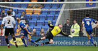 Photo: Steve Bond.<br /> Shrewsbury Town v Chesterfield. Coca Cola League 2. 13/10/2007. Barry Roche (keeper) is beaten by Colin Murdock (CL) to make it 3-2