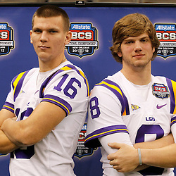 January 6, 2012; New Orleans, LA, USA; LSU Tigers quarterback Zach Mettenberger (8) and quarterback Stephen Rivers (16) during Media Day for the 2012 BCS National Championship game to be played on January 9, 2012 against the Alabama Crimson Tide at the Mercedes-Benz Superdome.  Mandatory Credit: Derick E. Hingle-US PRESSWIRE