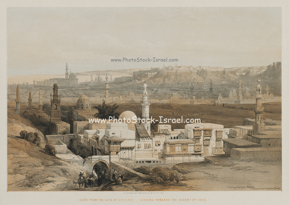 Egypt and Nubia, Volume III: Cairo from the Gate of Citzenib, Looking towards the Desert of Suez, 1849. Louis Haghe (British, 1806-1885), F.G. Moon, 20 Threadneedle Street, London, after David Roberts (British, 1796-1864). Color lithograph