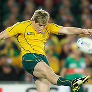 James O' Connor, Australia, in action during the New Zealand V Australia Semi Final match at the IRB Rugby World Cup tournament, Eden Park, Auckland, New Zealand, 16th October 2011. Photo Tim Clayton...