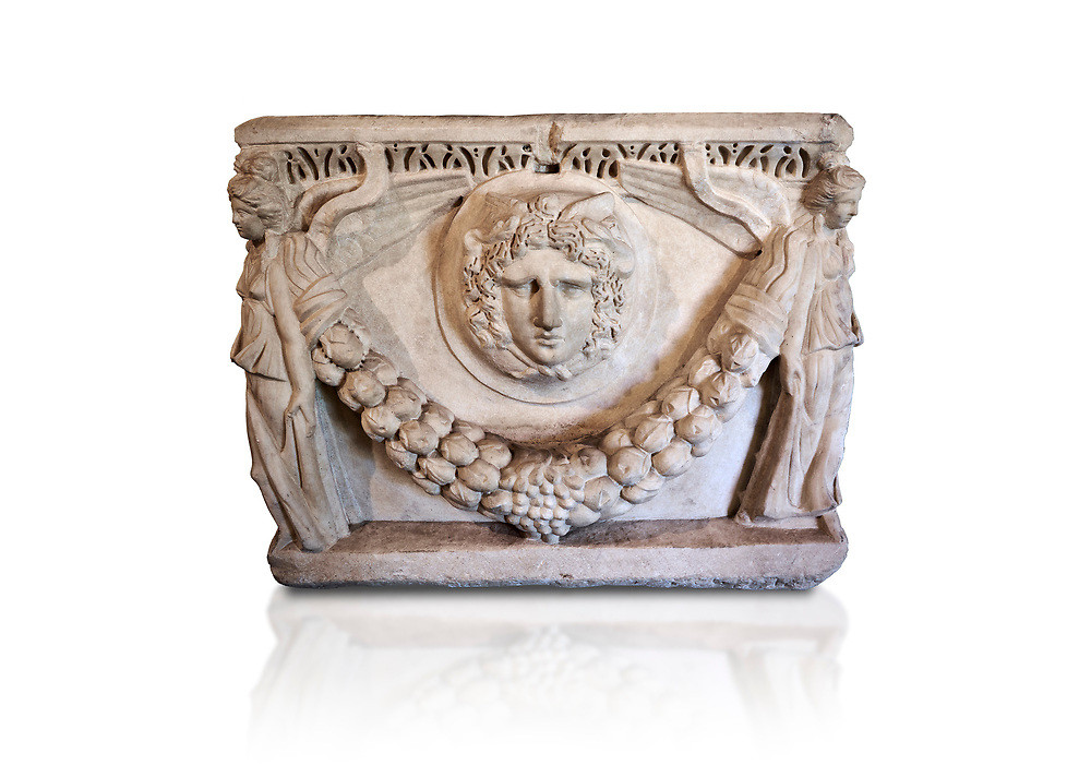 End panel of a Roman relief garland  sculpted sarcophagus, style typical of Pamphylia, 3rd Century AD, Konya Archaeological Museum, Turkey. Against a white background .<br /> <br /> If you prefer to buy from our ALAMY STOCK LIBRARY page at https://www.alamy.com/portfolio/paul-williams-funkystock/greco-roman-sculptures.html . Type -    Konya     - into LOWER SEARCH WITHIN GALLERY box - Refine search by adding a subject, place, background colour, museum etc.<br /> <br /> Visit our ROMAN WORLD PHOTO COLLECTIONS for more photos to download or buy as wall art prints https://funkystock.photoshelter.com/gallery-collection/The-Romans-Art-Artefacts-Antiquities-Historic-Sites-Pictures-Images/C0000r2uLJJo9_s0