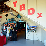 Organizers gather before the opening of TEDx PiscataquaRiver at 3S Artspace in Portsmouth, NH on May 3, 2013