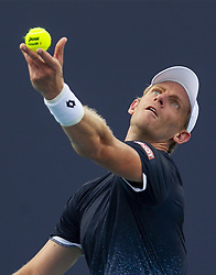 March 25, 2019 - Miami Gardens, FL, USA - Kevin Anderson, of South Africa, serves against Joao Sousa, of Portugal, during their match at the Miami Open tennis tournament on Monday, March 25, 2019 at Hard Rock Stadium in Miami Gardens, Fla. (Credit Image: © Matias J. Ocner/Miami Herald/TNS via ZUMA Wire)