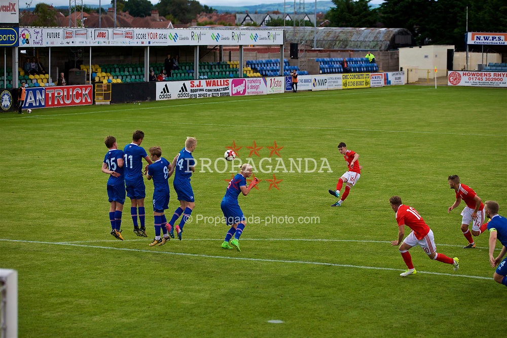 RHYL, WALES - Monday, September 4, 2017: Wales' Dylan Levitt takes a free kick during an Under-19 international friendly match between Wales and Iceland at Belle Vue. (Pic by Paul Greenwood/Propaganda)