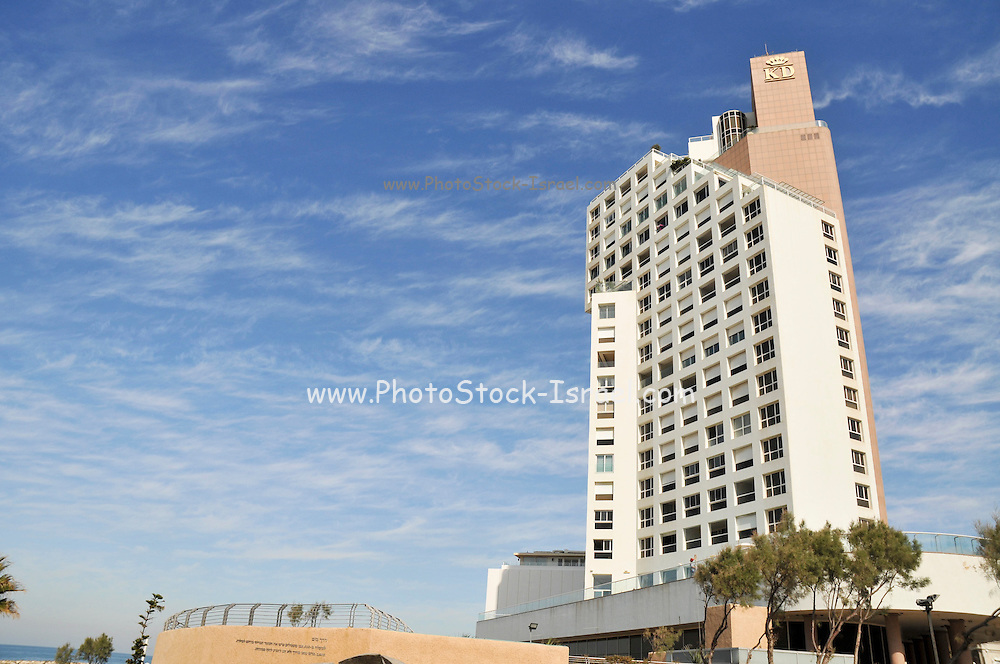 Israel, Tel Aviv, King David Tower hotel blue sky and Cirrus clouds background