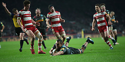 December 27, 2016 - London, England, United Kingdom - Harlequins Joe Marchant goes over for his Try during Aviva Premiership Rugby match between Harlequins and Gloucester Rugby at The Twickenham Stadium, London on 27 Dec 2016  (Credit Image: © Kieran Galvin/NurPhoto via ZUMA Press)