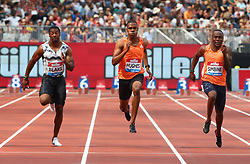 July 21, 2018 - London, United Kingdom - L-R Yohan Blake of Jamaica Zharnel Hughes of Great Britain and Northern Ireland Akani Simbine of South Africa compete in the 100m Men Final.during the Muller Anniversary Games IAAF Diamond League Day One at The London Stadium on July 21, 2018 in London, England. (Credit Image: © Action Foto Sport/NurPhoto via ZUMA Press)