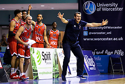Bristol Flyers head coach, Andreas Kapoulas and the Bristol Flyers bench cut animated figures - Mandatory by-line: Robbie Stephenson/JMP - 05/10/2018 - BASKETBALL - University of Worcester Arena - Worcester, England - Bristol Flyers v Worcester Wolves - British Basketball League