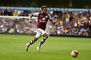 Jordan Amavi of Aston Villa in action. Barclays Premier League match, Aston Villa v Sunderland at Villa Park in Birmingham, Midlands on Saturday 29th August  2015.<br /> pic by Andrew Orchard, Andrew Orchard sports photography.