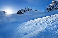 Wind blown snow patterns (sastrugi), Upper Marriott Basin in winter, Coast Mountains British Columbia