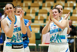 Tina Jakovina and Aleksandra Kroselj of Slovenia celebrate after winning during friendly basketball match between Women National Teams of Slovenia and Montenegro, on May 21, 2021 in Arena Tri Lilije, Lasko, Slovenia. Photo by Vid Ponikvar / Sportida