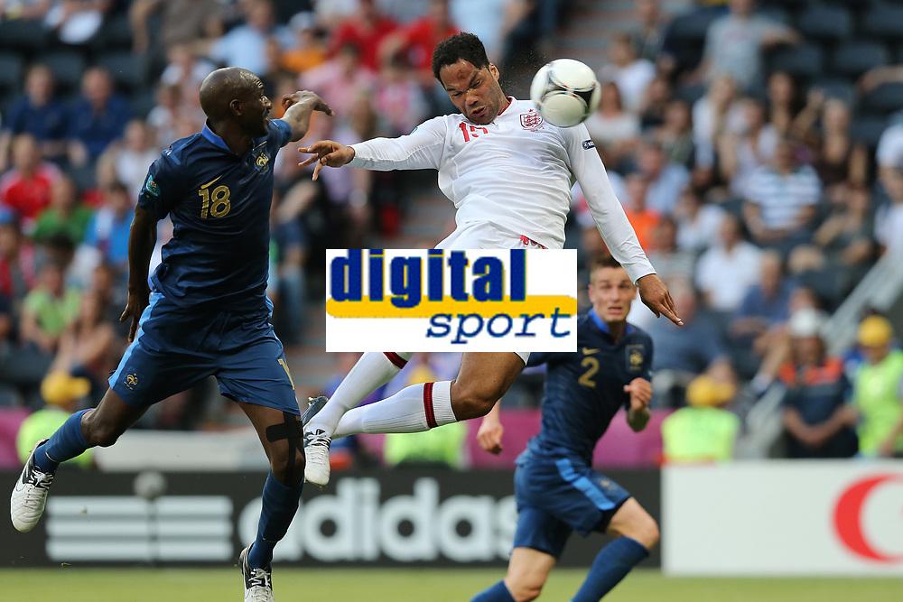 FOOTBALL - UEFA EURO 2012 - DONETSK - UKRAINE - GROUP STAGE - GROUP D - FRANCE v ENGLAND - 11/06/2012 - PHOTO PHILIPPE LAURENSON / DPPI - ALOU DIARRA (FRA)  / JOLEON LESCOTT (ANG) GOAL
