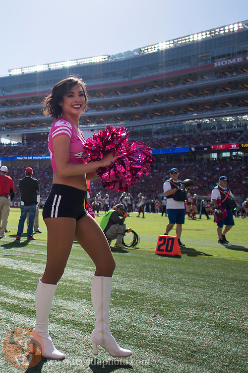 October 23, 2016; Santa Clara, CA, USA; San Francisco 49ers Gold Rush cheerleader Aleena during the second quarter against the Tampa Bay Buccaneers at Levi's Stadium. The Buccaneers defeated the 49ers 34-17.