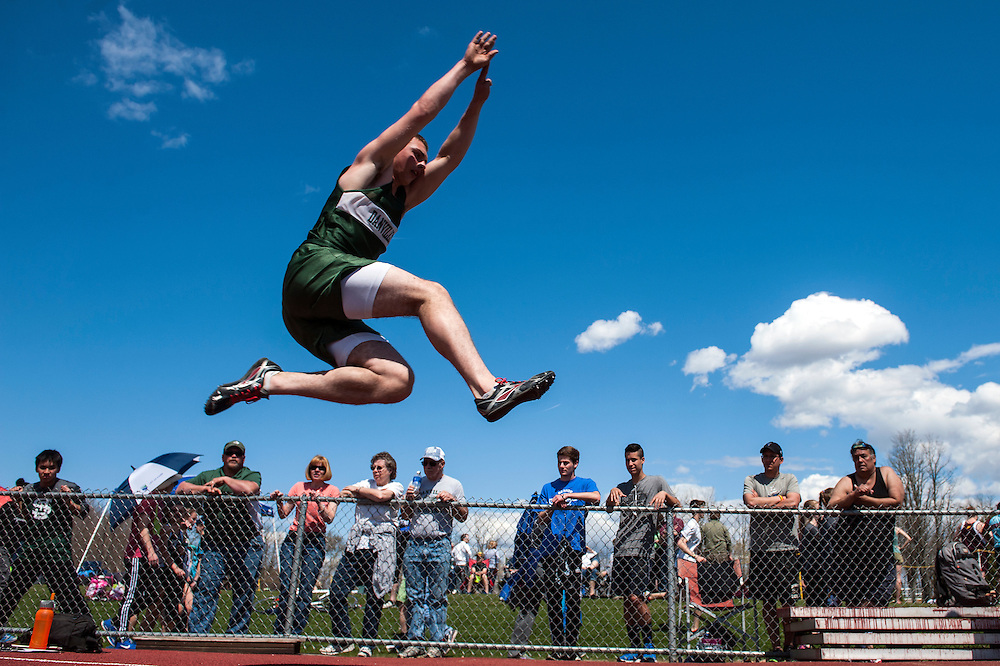 Danville's Riley Fenoff competes in the boys long jump event during the Burlington track and field invitational at Burlington high school on Saturday afternoon May 2, 2015 in Burlington, Vermont. (BRIAN JENKINS, for the Free Press)