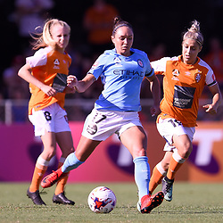BRISBANE, AUSTRALIA - FEBRUARY 11: Kyah Simon of Melbourne passes the ball during the Westfield W-League Semi Final match between the Brisbane Roar and Melbourne City at Perry Park on February 11, 2018 in Brisbane, Australia. (Photo by Patrick Kearney / Brisbane Roar)