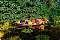 """Float Boat"", Monet Pool, Dale Chihuly Exhibition (blown glass), Denver Botanic Gardens, Denver, Colorado USA."