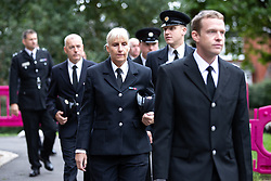 © Licensed to London News Pictures . 14/09/2018. Salford, UK. Firefighters arrive at the church ahead of the service . The funerals of Demi Pearson , Brandon Pearson , Lacie Pearson and Lia Pearson , at St Paul's Church in Walkden . Demi , Brandon , Lacie and Lia were aged 15 , eight , seven and three respectively when their home was set on fire as they slept . Zak Bolland and David Worrall were handed four life sentences for their murders . Photo credit: Joel Goodman/LNP