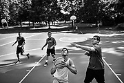 Rohan Patel of Piscataway from left, Wayne Sun of Bridgewater, Deepak Jonnalagedda of Edison and Ben Bancai of Middletown take part in some basketball at Jon Pritsch Basketball Courts at Normandy Park in Middletown, New Jersey on July 18, 2017.