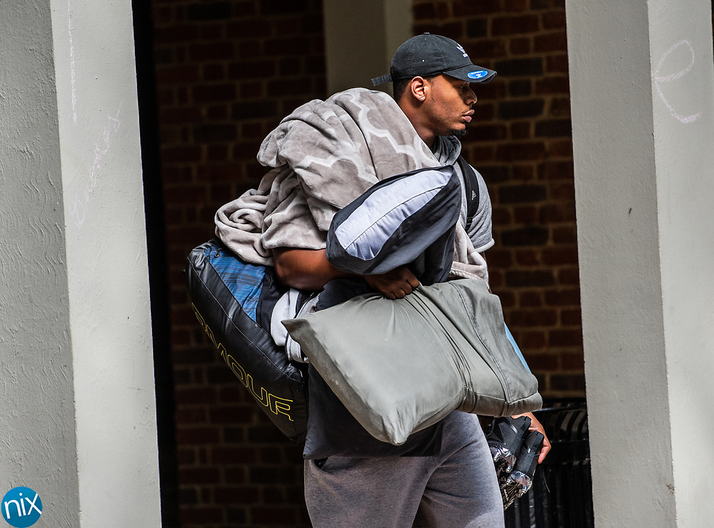 Players arrive at Wofford College Wednesday, July 25, for the Carolina Panthers Training Camp in Spartanburg, South Carolina.