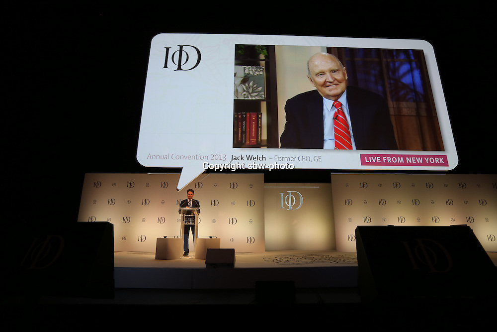 Institute of directors annual conference 2013<br /> Jack Welch being interviewed by Andrew Main Wilson via video link at the IoD Annual Convention in the Royal Albert Hall in London.