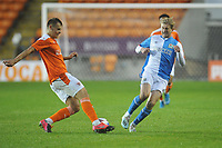Blackburn Rovers' Luke Brennan vies for possession with Blackpool's trialist<br /> <br /> Photographer Kevin Barnes/CameraSport<br /> <br /> Football Pre-Season Friendly - Blackpool v Blackburn Rovers - Tuesday 25th August 2020 - Bloomfield Road - Blackpool<br /> <br /> World Copyright © 2020 CameraSport. All rights reserved. 43 Linden Ave. Countesthorpe. Leicester. England. LE8 5PG - Tel: +44 (0) 116 277 4147 - admin@camerasport.com - www.camerasport.com