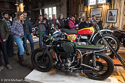 Kickstart Garage's 1971 R-75-S BMW with a Bultaco racer on it's sidecar at the One Show motorcycle show in Portland, OR. February 13, 2016. ©2016 Michael Lichter