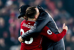 Liverpool manager Jurgen Klopp and Xherdan Shaqiri of Liverpool celebrate victory over Newcastle United - Mandatory by-line: Robbie Stephenson/JMP - 26/12/2018 - FOOTBALL - Anfield - Liverpool, England - Liverpool v Newcastle United - Premier League