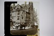 Magic lantern slide, historic building John Knox House,  High Street, Edinburgh, Scotland, UK c 1900