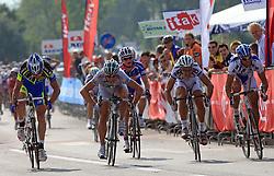 Simone Cadamuro of Italy  (Nippo Endeka) - 3rd place, winner Claudio Cucinotta of Italy (LPR Brakes), seventh placed Grega Bole of Slovenia (Adria Mobil), second placed Enrico Rossi of Italia (NGC Medical - OTC Indutria Porte) and fourth placed Danilo Hondo of Germany (Serramenti PVC Diqugiovanni -Androni Giocattoli) at final sprint at 1st stage of the 15th Tour de Slovenie from Ljubljana to Postojna (161 km) , on June 11,2008, Slovenia. (Photo by Vid Ponikvar / Sportal Images)/ Sportida)
