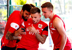 Jamie Paterson of Bristol City shares a joke with team mates before training - Mandatory by-line: Matt McNulty/JMP - 18/07/2017 - FOOTBALL - Tenerife Top Training Centre - Costa Adeje, Tenerife - Pre-Season Training