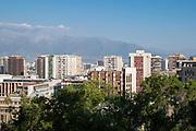 Wide-angle street view from Cerro Santa Lucia, Santiago, Chile.
