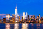 Skyline of downtown Manhattan, New York City, with the Freedom Tower, One World Trade Center, OneWTC.
