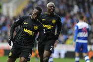 Wigan's Maynor Figueroa (l) celebrates with Arouna Kone ® after he scores his sides 3rd goal. Barclays Premier league, Reading v Wigan Athletic at the Madejski Stadium in Reading on Saturday 23rd Feb 2013. pic by Andrew Orchard, Andrew Orchard sports photography,