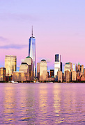 The skyline of lower downtown Manhattan, New York City, featuring the new One World Trade Center by architect David Childs, seen over the Hudson River.