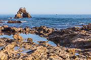 Seagulls Sitting on Top of Arch Rock in Corona del Mar