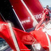 © María Muiña I MAPFRE: Sophie Ciszek entrenando a bordo del MAPFRE. Sophie Ciszek training on board MAPFRE.
