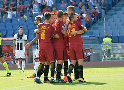 September 23, 2017 - Rome, Italy - A.S. Roma players celebrates after scoring a goal during the Italian Serie A football match between A.S. Roma and Udinese at the Olympic Stadium in Rome, on september 23, 2017. (Credit Image: © Silvia Lore/NurPhoto via ZUMA Press)