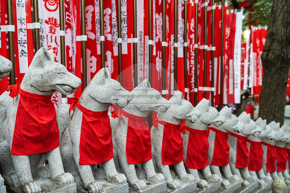 Reikyo Zuka or the Hill of Foxes at the Toyokawa Inari Betsuin temple in Asakusa, Tokyo, Japan. The Buddhist temple is part of the Soto Zen sect and enshrines the deity Toyokawa Dakinishinten but also known for the thousands of Inari Kitsune or fox goddess statues.