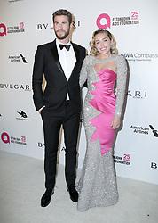 March 4, 2018 - U.S. - 04 March 2018 - West Hollywood, California - Chris Hemsworth, Miley Cyrus. 26th Annual Elton John Academy Awards Viewing Party held at West Hollywood Park. Photo Credit: PMA/AdMedia (Credit Image: © Pma/AdMedia via ZUMA Wire)