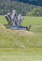 THEMENBILD - Wilder Kaiser Logo mit W aus Steinkörben auf einer Wiese, aufgenommen am 11. Juni 2020, Going am Wilden Kaiser, Österreich // Wilder Kaiser logo with W from stone baskets on a meadow on 2020/06/11, Going am Wilden Kaiser, Austria. EXPA Pictures © 2020, PhotoCredit: EXPA/ Stefanie Oberhauser