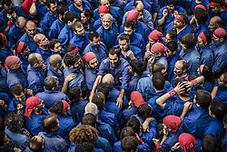 November 20, 2016 - Barcelona, Catalonia, Spain - The 'Castellers de la Vila de Gracia' organize the base of a human tower during a 'diada castellera' at Barcelona's Gracia quarter (Credit Image: © Matthias Oesterle via ZUMA Wire)