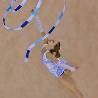 Caroline Weber (AUT) performs with the ribbon during the final of the 2nd Garantiqa Rythmic Gymnastics World Cup held in Debrecen, Hungary. Sunday, 07. March 2010. ATTILA VOLGYI