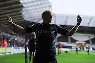 Hanno Dirksen celebrates after he scores a try for the Ospreys. Rabodirect Pro12 rugby, play off semi final, Ospreys v Munster at the Liberty Stadium in Swansea on Friday 11th May 2012.  pic by Andrew Orchard, Andrew Orchard sports photography,