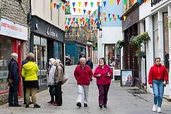 View of shops and people on Commercial Street in old town of Lerwick, Shetland Isles, Scotland, UK