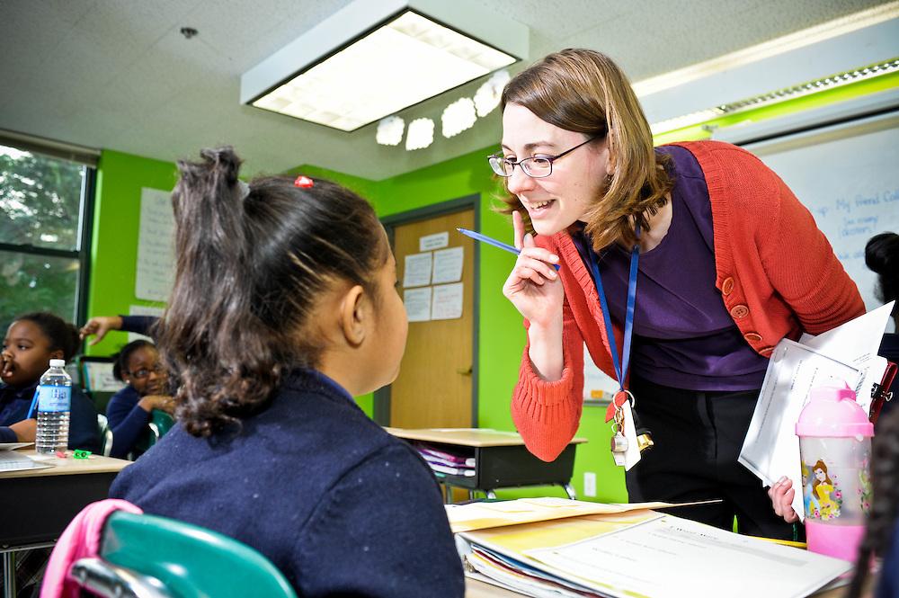 A Mother Caroline Academy teacher at work in Dorchester, MA.