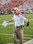Sep 10, 2011; Little Rock, AR, USA; Arkansas Razorback head coach Bobby Petrino yells at the officials during the first half of a game against the New Mexico Lobos at War Memorial Stadium. The Razorbacks beat the Lobos 52-3.  Mandatory Credit: Beth Hall-US PRESSWIRE