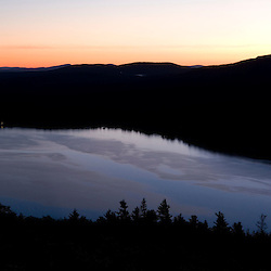 Dawn over Somes Sound on Mount Desert Island in Maine's Acadia National Park. Panoramic View.