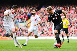 Fernando Torres attacks for the Gerrard XI  - Photo mandatory by-line: Matt McNulty/JMP - Mobile: 07966 386802 - 29/03/2015 - SPORT - Football - Liverpool - Anfield Stadium - Gerrard's Squad v Carragher's Squad - Liverpool FC All stars Game
