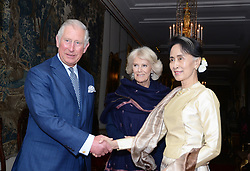 May 5, 2017 - London - The Prince of Wales and the Duchess of Cornwall greet Burma's de facto leader Aung San Suu Kyi  ahead of their meeting at Clarence House in London.  (Credit Image: © Rota/i-Images via ZUMA Press)