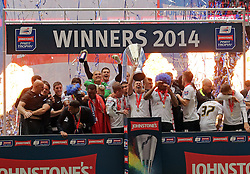 Peterborough United celebrate winning the Johnstone's Paint Trophy - Photo mandatory by-line: Joe Dent/JMP - Mobile: 07966 386802 30/03/2014 - SPORT - FOOTBALL - London - Wembley Stadium - Chesterfield United v Peterborough United - Johnstone Paint Trophy Final